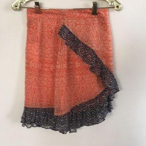 Free People orange flounce mini skirt